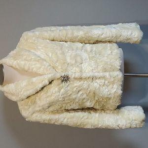 Woman's size 10, cream, faux fur coat.